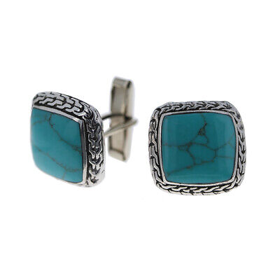 $40 • Buy 925 Sterling Silver, Mens Turquoise Cuff Links, 20mm Cufflinks, Turquoise & Silv