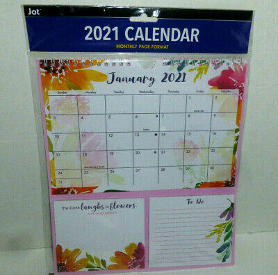 £7.09 • Buy Jot 2021 Wall Calendar With Note Pads-Monthly Format -9.5  X 7 -Brand New!!