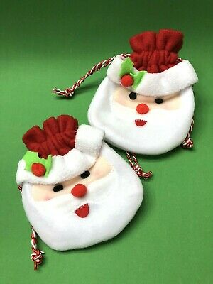 Cute Santa Gift Pouch- Bag W/Tie String- Set Of 2 • 2.27£