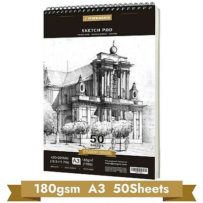 Sketch Book Drawing Pad 180gsm A3*50 Sheets Spiral Bound Sketch Pad -PENCILMARCH • 14.49£