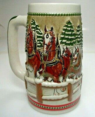 $ CDN15.71 • Buy 1984 Budweiser Holiday Christmas Beer Stein Clydesdale Covered Bridge Mug