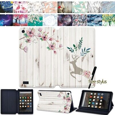 Leather Flip Case Stand Cover For Amazon Fire 7  HD 8  /HD 8 Plus HD 10  Tablet • 8.98£