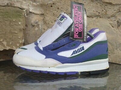 Vintage 1990s Avia 2040 UK8 Deadstock White Purple Sneakers Runners Trainers • 99.99£