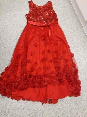 Stunning Monsoon Girls Red Sewuin Glitter High Low Dress 14 15 Years  • 33£