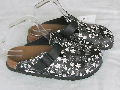 NEW Papillio By Birkenstock Ladies Black Floral Mules Clogs Sandals UK Size 4.5 • 69.99£