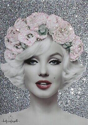 Glam Silver Marilyn Monroe Glitter, Crystals Canvas Picture Any Size! • 34.88£