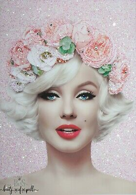 Glam Pink Marilyn Monroe Glitter, Crystals Canvas Picture Any Size! • 34.88£