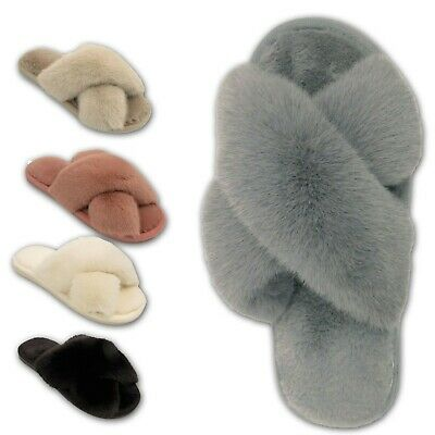 £8.99 • Buy Ladies Fluffy Slippers Womens Faux Fur Open Toe Cross Over Girl Mules Shoes Size