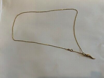"""Vintage 9ct Yellow Gold Link Chain 18"""" Long & Horn Of Plenty Pendant  • 49.99£"""
