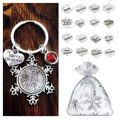 XMAS GIFT Keyring MUM, DAUGHTER, SISTER, FRIEND, LUCKY SIXPENCE Christmas Gifts • 3.35£