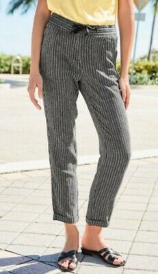 NEXT Linen Blend Tapered Trousers Size 16 R Striped New • 7.99£