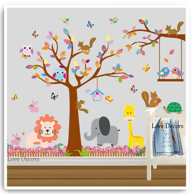 Animal Wall Stickers Monkey Owl Giraffe Jungle Zoo Nursery Baby Kids Bedroom Art • 16.89£