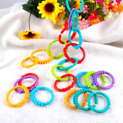 24 PCS Baby Teether Silicone Rings Car Handheld Strollers Links Toys For Infant • 4.99£