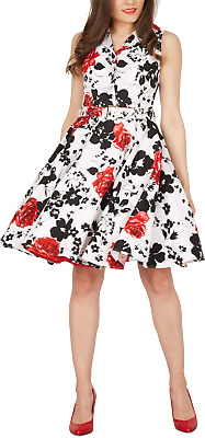 FACTORY SECONDS White Floral Vintage 50's Rockabilly Full Circle Dress Size 18 • 14.99£