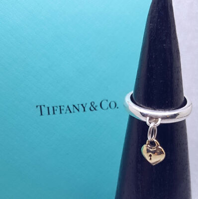 Tiffany & Co Ring - Solid Sterling Silver / Gold Heart Lock Ring - Genuine, Mint • 225£