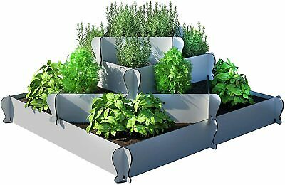 Palram KIMY Outdoor Square Garden Bed Planter: 4-Piece Gray Raised Terrace Plant • 28.94£