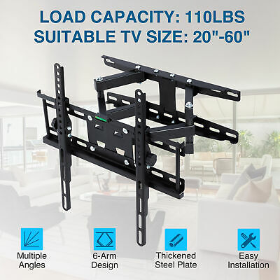 AU32.99 • Buy TV Wall Mount Bracket Full Motion Tilt Swivel Pivot 20 25 32 40 43 50 55 60 Inch