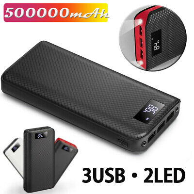 AU19.99 • Buy External 500000mAh Charger Power Bank Portable LCD 3USB Battery For Mobile Phone