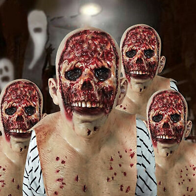 $ CDN19.99 • Buy Halloween Scary Mask Bloody Zombie Latex Horror  Face Mask Props