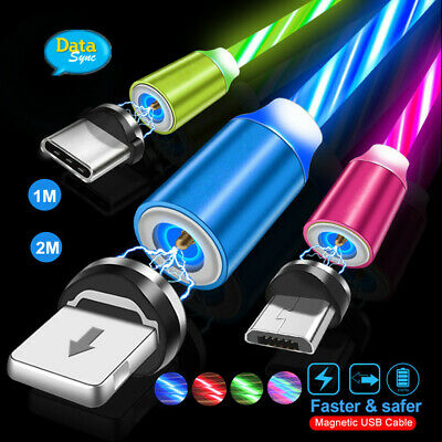 AU5.29 • Buy Light Flow LED For Mirco USB Type C IOS Cable Charger Magnetic Cable Charging