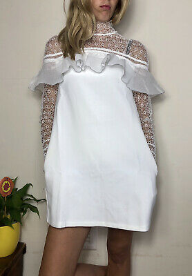 Gorgeous Self-portrait Mini White Dress Uk 6 Lace Floral Pleated Back High Neck • 105£