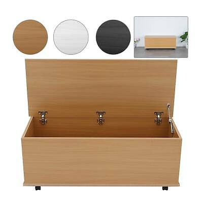 White Black Or Beech Practical Ottoman Toy Box Chest Wooden Storage Blanket Lid  • 40.99£