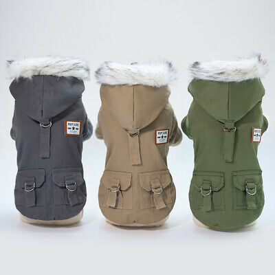 Winter Small Pet Dog Hoodie Down Jacket Puppy Warm Coat French Bulldog Clothes • 14.39£
