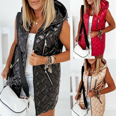 Womens Puffer Padded Quilted Vest Coat Ladies Winter Warm Hooded Gilet Jacket • 9.19£