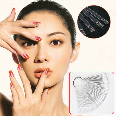 50PCS Tool Oval False Nail Tips Display With Ring Board Manicure Chart Practice • 6.27£