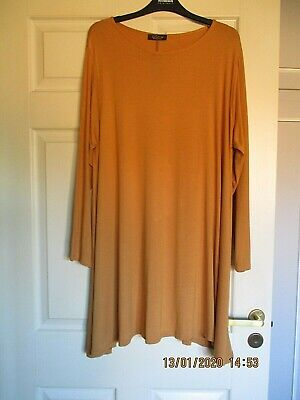 Ladies Mustard Swing Tunic Top/Dress Size 22 By Buzy Collection • 4.50£