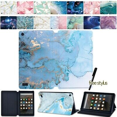 Printed Leather Case Stand Cover For Amazon Fire 7  HD 8  / 8  Plus HD 10 Tablet • 8.98£