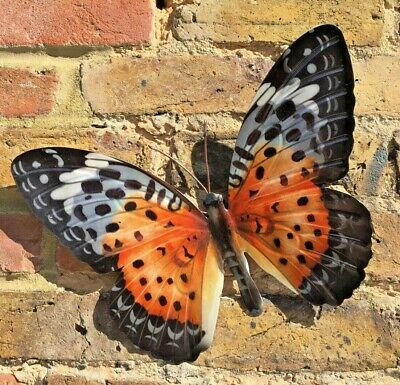 £8.50 • Buy Butterfly Wall Art Garden Ornament Plaque Metal Gift Orange/Red Colour Fence