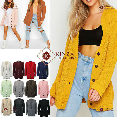 Womens Ladies Chunky Cable Knit Grandad Cardigan Button Long Sleeves Plus Size • 10.99£
