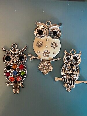 Tibetan Alloy Large OWLS With RHINESTONES Pendants  Beautiful Antique Silver  • 1.65£