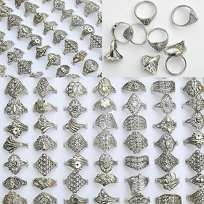 $ CDN3.82 • Buy 20Pcs/Lot Wholesale Rings Jewelry Costume Mixed Style Tibet Silver Vintage Rings