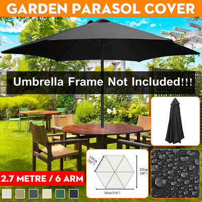 2.7m 6 Arm Replacement Fabric Garden Parasol Canopy Cover Waterproof UV Protect • 25.99£