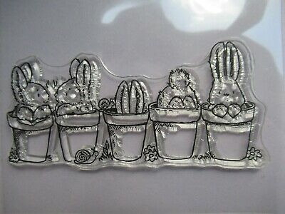 NEW Clear Acrylic Unmounted Stamp - Little Easter Rabbits Bunny & Flower Pots • 3.49£