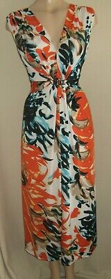 Ladies Stunning Black White Orange Holiday Party Dress Size 14 16 Uk By Text • 5.50£