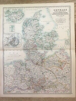 1888 Denmark Iceland Copenhagen Large Colour Antique Map By A.K. Johnston • 19.99£