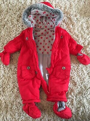 0-3 Months Unisex Snowsuit/Pramsuit: Winter Padded Suit With Mittens, Mothercare • 0.99£