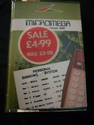 Personal Banking System- ZX Spectrum 48K/128K Micromega 1983  Tested & Working • 5.99£