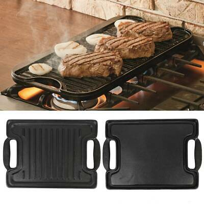 Cast Iron Double Sided Griddle Hot Plate Tray Frying Grill BBQ Reversible Pan • 18.86£