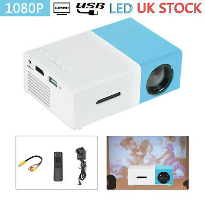 Mini Pocket YG300 Blue 3D Projector LED HD 1080p Home Theater Cinema USB HDMI SD • 23.99£