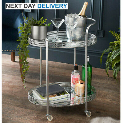 £46 • Buy Deco Glamour Drinks Trolley - Silver With 2 Mirrored Shelves - Art Deco Theme