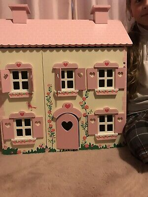 £39.99 • Buy Wooden Country Dolls House With Furniture, Kids Girls Pink Toy Dollhouse Playset