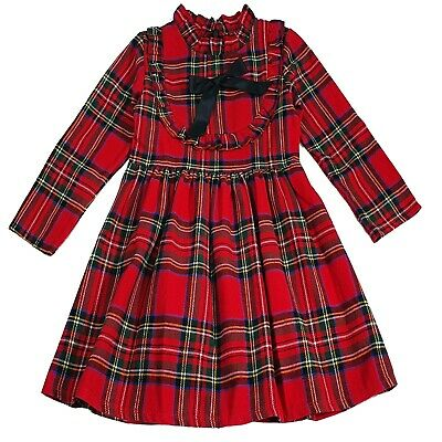 New Girls Kids Bow Tartan Check Long Sleeved Casual Party Tutu Outfits Dress  • 12.99£