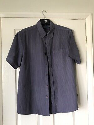 Mens Atlantic Bay L Soft Touch 100% Polyestet Purple/Grey Striped Short Sleeved • 3.40£