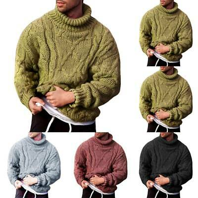 Mens Winter Chunky Cable Knitted Jumper Roll Turtle Neck Pullover Tops Sweater • 17.57£