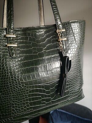 Large Tote Bag Moc Croc Embossed Faux Leather Beautiful Seaweed GREEN *Broken • 6.40£