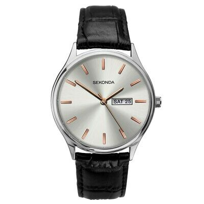 Sekonda Mens Classic Watch With Silver Dial And Black Leather Strap 1686 • 24.99£